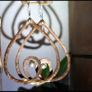 Hammer-forged copper and sterling silver earrings